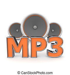 word MP3 with three speakers in background - orange style