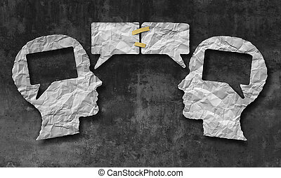 Speaking together social media concept as two crumpled pieces of paper shaped as a human head with talk bubbles or speech bubble icons taped as a communication symbol for business understanding and compromise agreement.