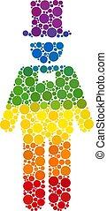 Spectrum Gentleman Composition Icon of Spheric Dots