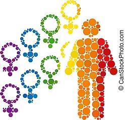 Spectrum Harem symbol Composition Icon of Spheric Dots