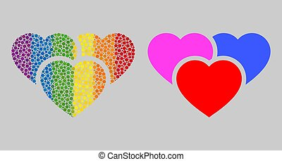 Spectrum Love hearts Composition Icon of Spheric Dots