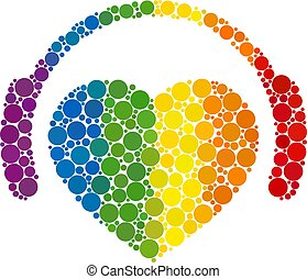 Spectrum Romantic heart DJ Composition Icon of Spheric Dots