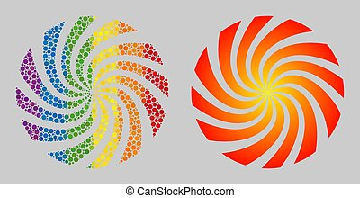 Spectrum Rotation swirl Composition Icon of Spheric Dots