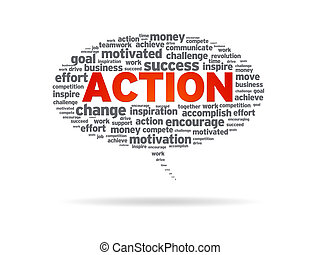 Speech bubble with the word action on white background.