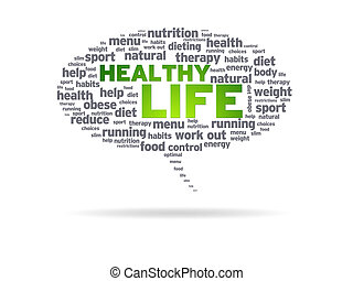 Speech bubble with the words Healthy Life on white background.