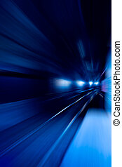 A blue motion conept image - moving train