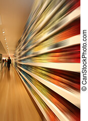 row in shopping mall with speed blur