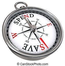 spend versus save concept compass isolated on white background
