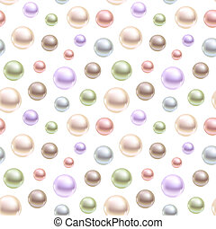 Spherical pearls of different colors. Seamless vector background.