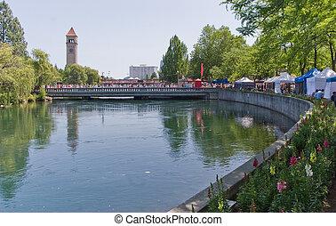 Spokane River in Riverfront Park wi