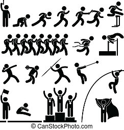 A set of pictogram representing sport for field and track game.