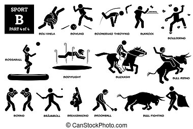 Sport games alphabet B vector icons pictogram.
