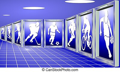 Silhouettes of sportsmen shown as exhibits in a sports gallery