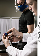 Sportsman during the medical examination