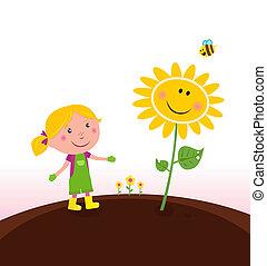 Spring gardening : Gardener child