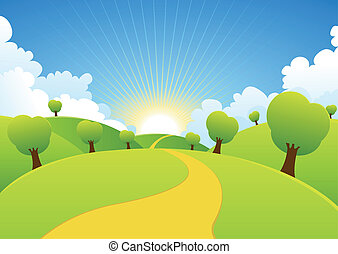Illustration of a cartoon summer or spring season country landscape
