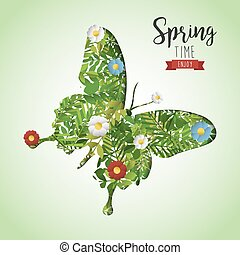 Spring time butterfly paper cutout greeting card