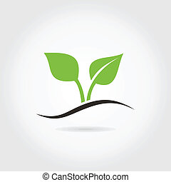 Plant sprout on a grey background. A vector illustration