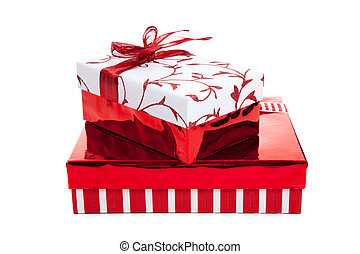 Stack of red and white wrapped Christmas presents