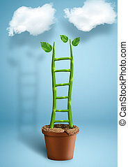 Stairs to success creative concept, plant growth as ladder