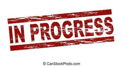 Stylized red stamp showing the term in progress. All on white background.