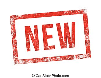 "Vector illustration of the word ""New"" in red ink stamp"