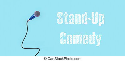 microphone with stand-up comedy inscription, panoramic image