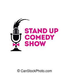 Stand Up Comedy Show Mic Sign Emblem