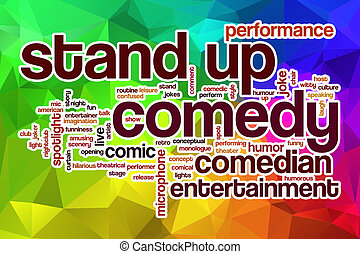 Stand up comedy word cloud concept with abstract background