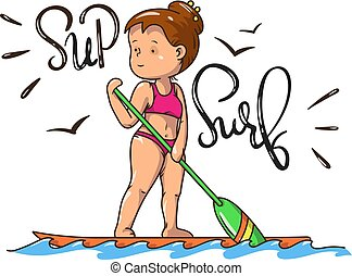 Stand Up Paddle Surfing, vector image
