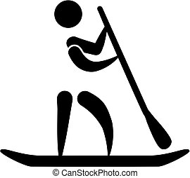 Stand up paddling icon
