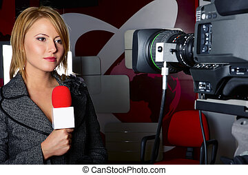 stand up transmission with serious press woman in front of the video camera