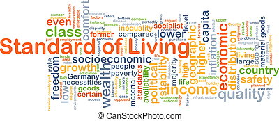 Standard of living background concept