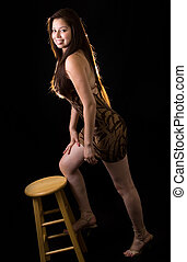 Standing on a stool
