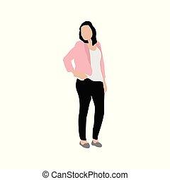 Standing Pose Woman People Illustration