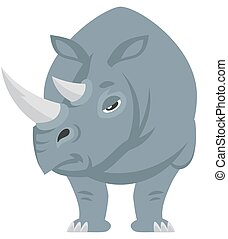 Standing rhinoceros front view.