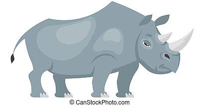 Standing rhinoceros three quarter view.