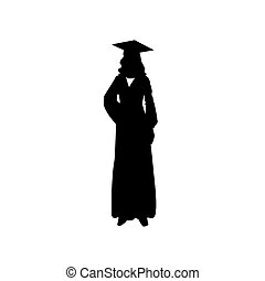 standing woman. Vector illustration