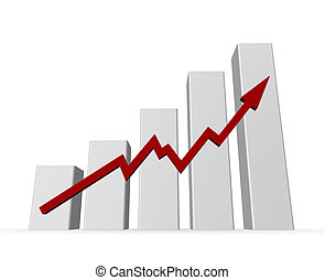 business graph on white background - 3d illustration