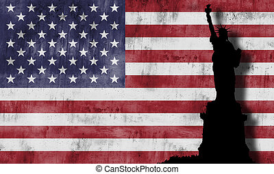 Statue of liberty and american flag.