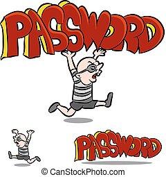 An image of a man stealing a password.
