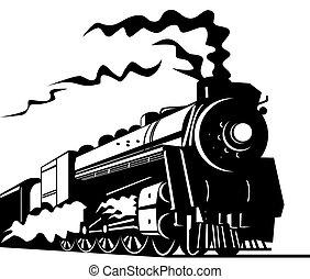 Illustration on rail transport isolated on white