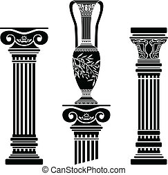 stencils of columns and hellenic jug