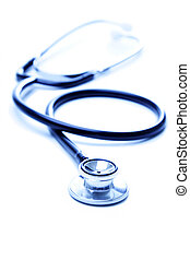 A shot of stethoscope in blue tone over white