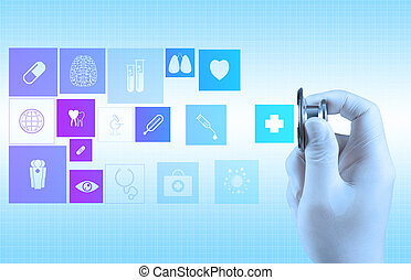 Stethoscope in hand as medical concept