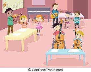 Illustration of Stickman Kids Having Fun in a Music Instrument Petting Zoo