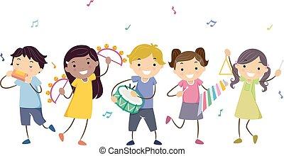 Stickman Kids Musical Instruments