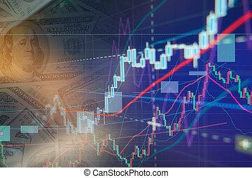 Stock exchange chart graphs