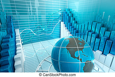 Stock market abstract 3D render, Business background
