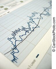 Stock market chart for investor analysis. Very shallow DOF, focused in the center.